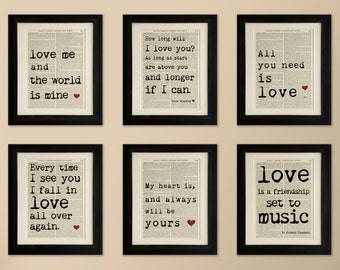 Set of 6 Art Prints on old antique book page - Love Quotes, Ellie Goulding, The Beatles Vintage Wall Art Print Encyclopaedia Dictionary Page