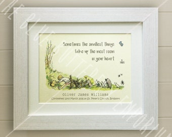 PERSONALISED Winnie the Pooh Christening Quote Print, New Baby, Nursery Picture Gift, Pooh Bear, *UNFRAMED* Beautiful Gift