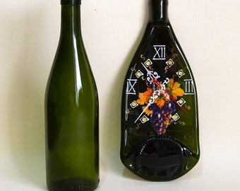 Wall Clock of Melted Wine Bottle Slumped Wine Bottle