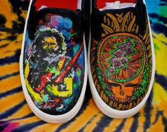 Grateful Dead Jerry Garcia Steal your face custom Vans
