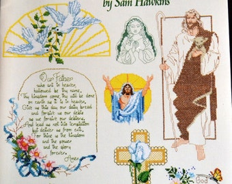 Vintage Cross Stitch Pattern Book Expressions of Faith Sam Hawkins