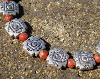 Silver and Burnt Orange Tribal Bracelet