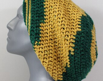 Men's Green Gold Green Bay Packers Inspired Dreads Tam Slouchy Beret Hat