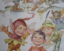 IMPS RABBITS and Mice - Fun on the Ice - Nursery Room Print -Antique Chromo Childrens Print - A L Bowley from 1914 - Matted - Ready to Frame