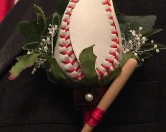 Baseball rose boutonniere