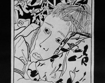 Linocut portrait 'Deep In Thought'  original print-limited edition-black and white linocut print-relief print-block print-figurative art.