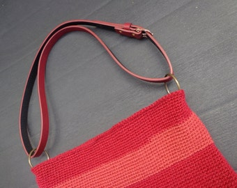 red schoulder bag
