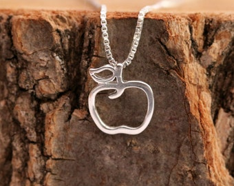 FREE UK Shipping Sterling Silver Pendant Necklace with Cute Open Designed Apple Lucky Charm Gift For The Loved Ones Comes with Gift Box