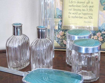Art Deco Faux Guilloche Ribbed Glass Vanity Set