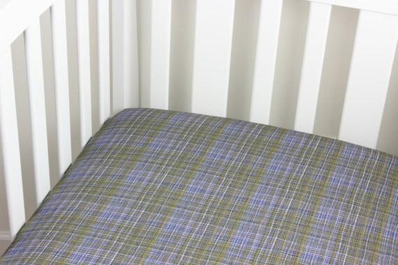 Navy Plaid Cotton Crib Sheet or Changing Pad Cover Baby Crib Navy Yellow White Crib Sheet Contoured Boy Crib Sheet Changing Pad Cover