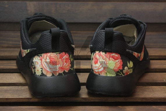 bc1d1e90a732 low-cost Black Rose Nike Roshe Run Triple Black Floral Custom by NYCustoms