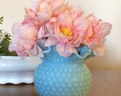 SALE! Blue Pastel Fenton Milk Glass Hobnail Vase with Ruffled Crimped Rim - Light Blue Aqua Turquoise Wedding Rose Bowl