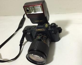 Canon T50 35mm SLR Film Camera + Lens 244T Speedlite Flash