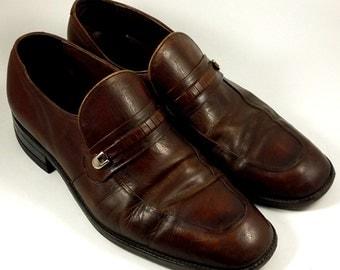 FREEMAN Free Flex ~ Men's Vintage 1970s Brown Leather Loafers ~ Size 9.5 C