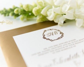 Rustic Wedding Invitation // Gold // Monogram // Floral