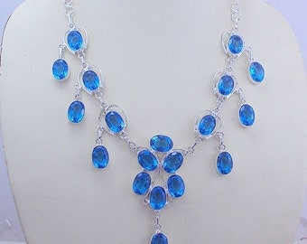 62 gram stunning  FACETED BLUETOPAZ .925 sterling silver handmade  necklace  free shipping