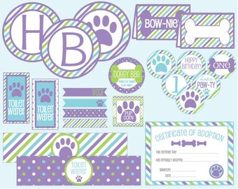 Let's Pawty! Puppy Dog Birthday Party Package! Purple Blue & Green Puppy Dog Party. Instant Digital Download.