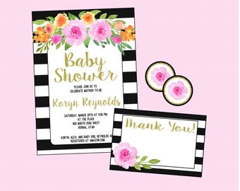 Baby Shower Invitation. Bridal Shower Invitation. Black White and Gold Glitter, Pink and Orange Flowers. Personalized. Digital.