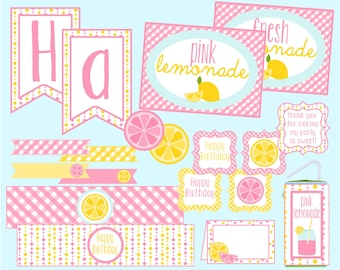 Pink Lemonade Party Package. Lemonade Stand Birthday Party Package. Digital Download. Pink and Yellow Party Package. Lemonade