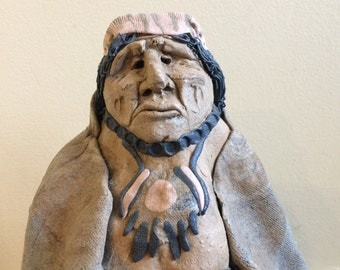 Handmade Clay Sculpture of American Indian