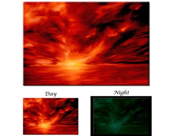 Glow in the Dark Canvas Wall Art - Warmth Red Abstract Artwork - Ready to Hang