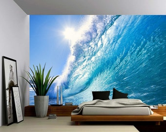 Ocean Wave - Large Wall Mural, Self-adhesive Vinyl Wallpaper, Peel & Stick fabric wall decal