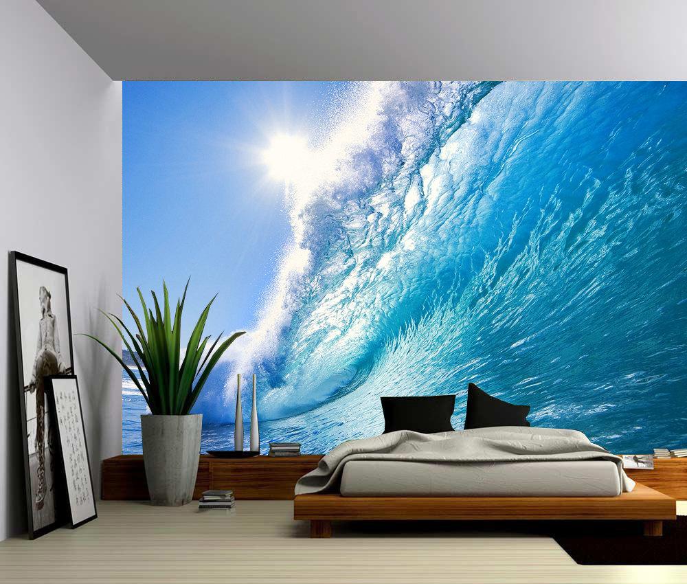 Ocean wave large wall mural self adhesive vinyl wallpaper - Wall mural ideas for bedroom ...