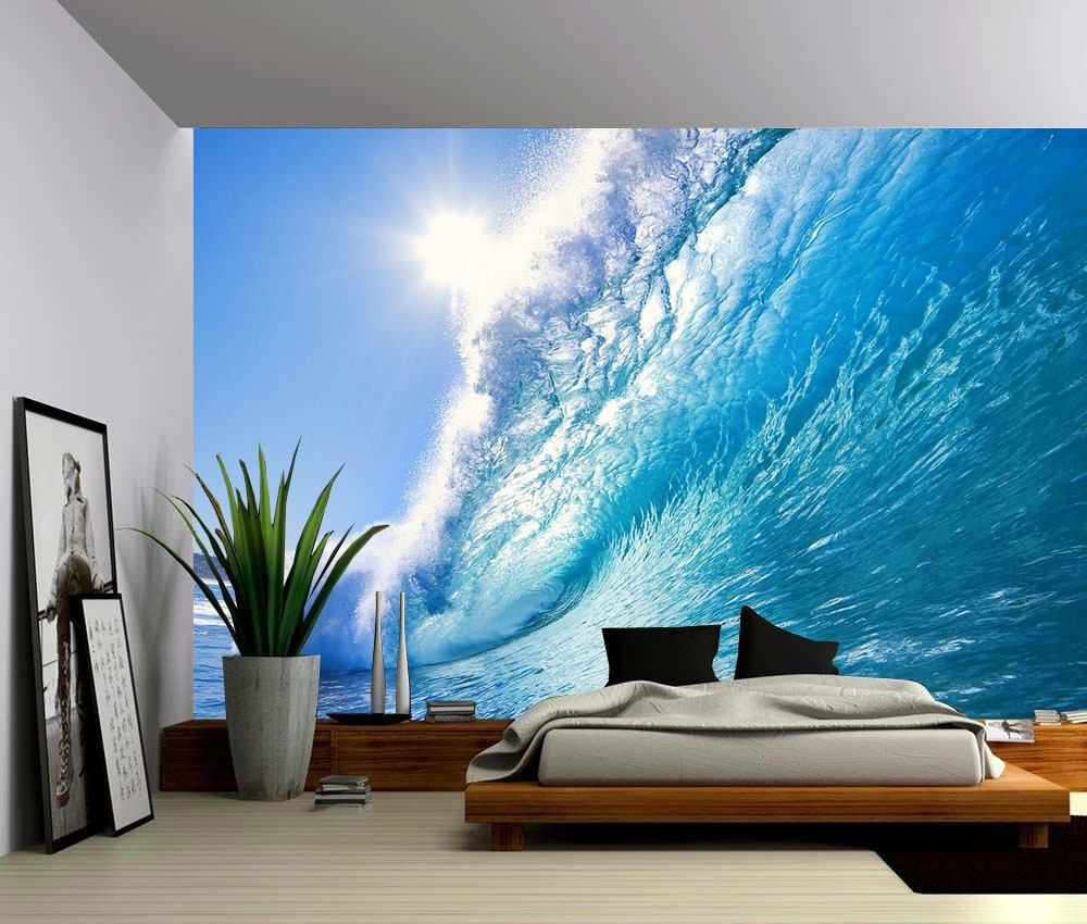 Ocean wave large wall mural self adhesive vinyl wallpaper for Bedroom wall mural designs