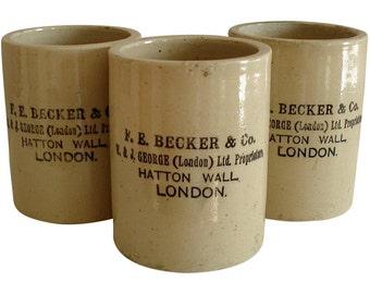 Rare F. E. Becker Antique English Ironstone Jars