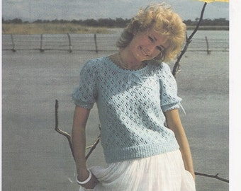Patons 7128, Original knitting pattern, ladies knitting pattern, ladies short sleeved summer sweater, cotton yarn knitting pattern