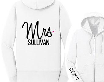 Personalized MRS. with Last Name and Heart {EST. Year on Arm} Fleece Full-Zip Hoodie, Mrs. Hoodie, Bride Jacket, Wifey Sweatshirt | #1333