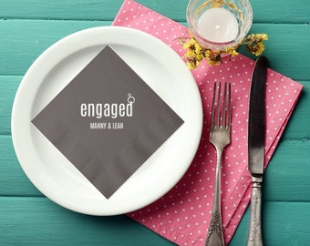 engaged with ring wedding napkins engagement party napkins bridal shower napkins