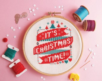 Christmas cross stitch pattern - It's Christmas Time - cross stitch pattern / Instant Download / counted cross stitch / Easy cross stitch