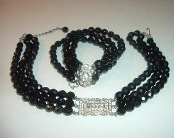 Vintage Black Glass Choker and Bracelet Free US Shipping