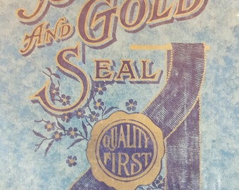 Vintage Blue and Gold Seal Drawing Tablet