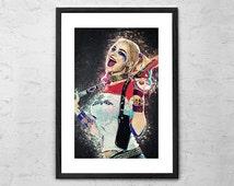 Harley Quinn - Illustration - Suicide Squad - Harlequin - Harley Quinn Art - Harley Quinn Poster - Harley Quinn Print - Movie Poster - Film