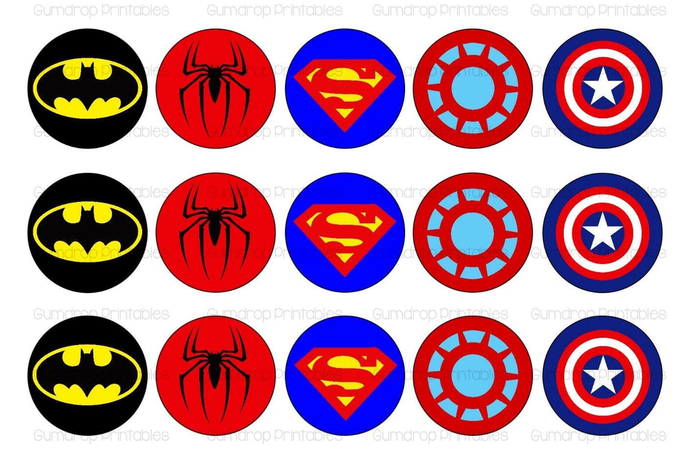 SUPERHERO 2 Logos 1 Inch Circles Bottle Cap Images