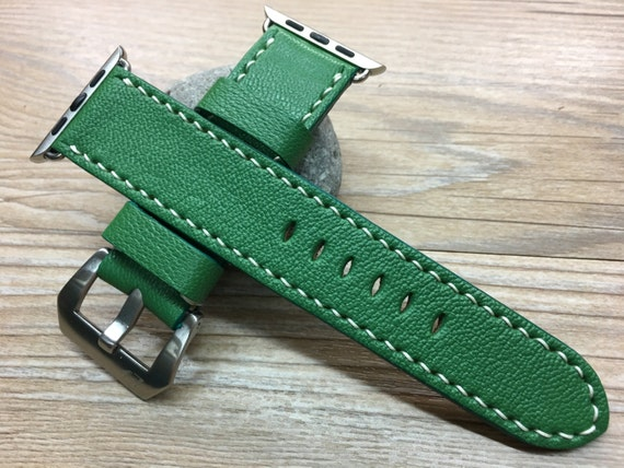 Apple Watch Band 38mm 42mm, Handmade, iwatch band, Green Leather Watch Band, leather apple watch, Apple Watch Strap, Series 1 Series 2