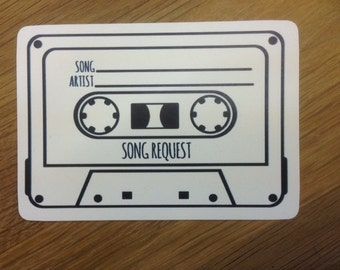 10 Vintage/Shabby Chic Style 'Cassette Tape' Song Request cards for Invitations