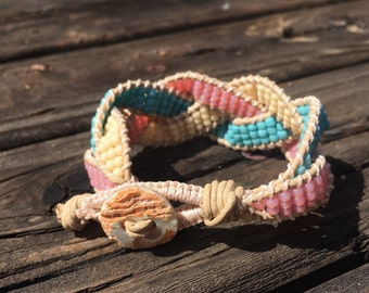 leather womens bracelet, beaded bracelet, pink and blue bracelet, braided bead bracelet, gift for her