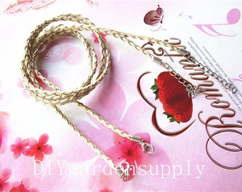 20pcs 23 inch adjustable cream Braided Leather cord necklace including lobster clasps and extention chains size 3mm