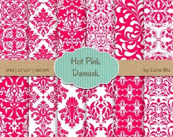 "Hot Pink Digital Paper: "" Hot Pink Damask"" pink digital paper, for cardmaking, invitations, pink scrapbooking paper"