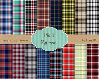 """Plaid Digital Paper: """"Plaid Patterns"""" scrapbooking paper, plaid backgrounds, tartan, Instant download"""