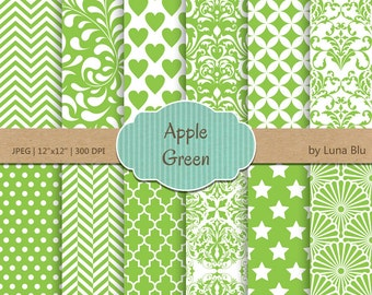 """Apple Green Digital Paper: """"Apple Green Patterns""""  for invitations, scrapbooking, cardmaking, stationary, green backgrounds"""