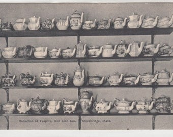 1909 Antique Postcards Collection Of Very Old Teapots, Red Lion Inn, Stockbridge Massachusetts
