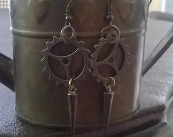 Steampunk spiked gear earrings, lightweight earrings, gear earrings, spiked earrings.