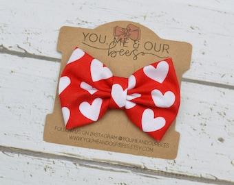 Red & White Heart Fabric Hair Bow Clip; Heart Valentine's Day Hair Bow Clip; Baby Bow; Girl's Hair Bow Clip; Valentine's Day bow; Heart bow