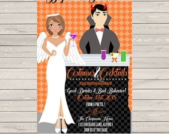 Halloween Party Invitation, personalized and print at home or order prints, any wording and personalize the people