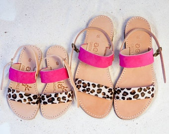 Little girl Aelia greek sandals /Mini and me sandals/fuchsia and leopard pony skin / yellow leopard pony skin/ apostasy