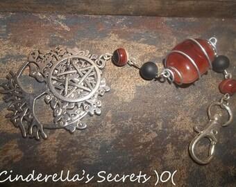 Tree of Life Natural Cornaline Stone Pentagram Key Chain